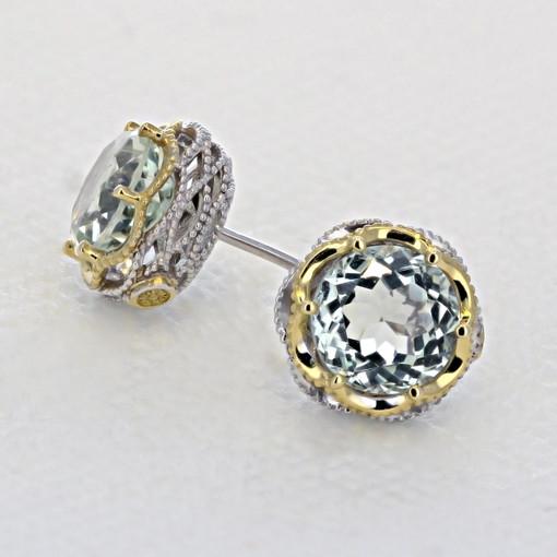 Crescent Crown Prasiolite Fashion Earrings  (SE105Y12)
