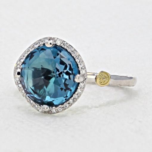 Gemma Bloom Pavé London Blue Topaz Fashion Ring (SR14533)