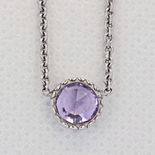Crescent Embrace Petite Amethyst Fashion Necklace (SN15401)