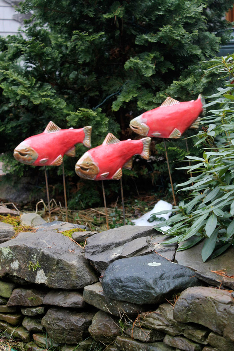 Sockeye Salmon fish sculptures
