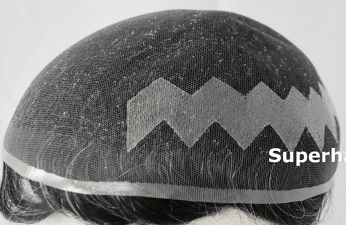 Custom Made French Lace Poly Zigzag Side Back Toupee