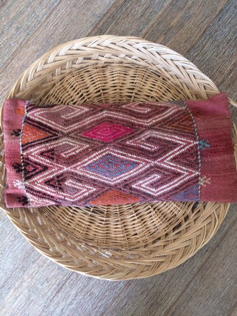 Vintage Kilim 'Pink Diamond' Lumbar Cushion