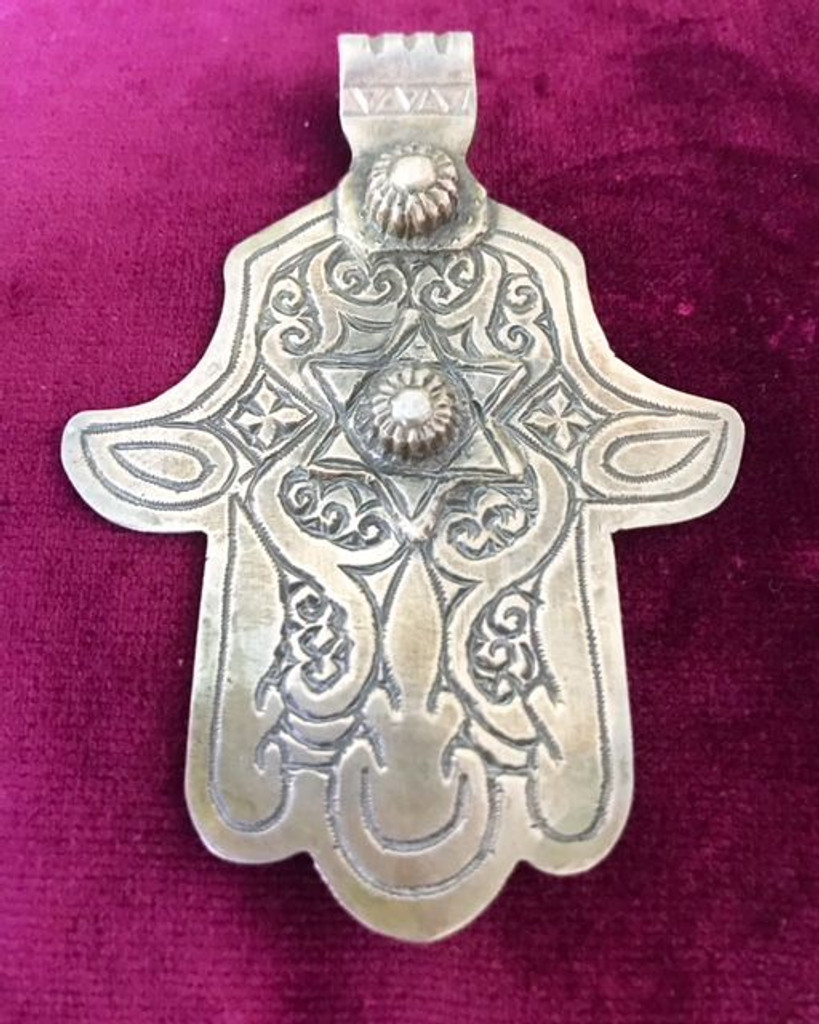 Antique Solid Silver XL Star Hamsa Hand