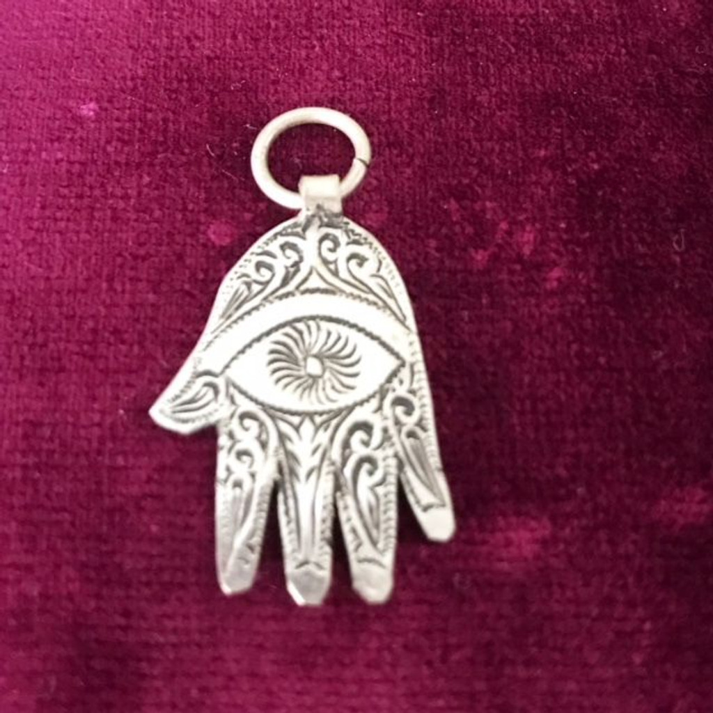 Antique Solid Silver etched EYE Hamsa Hand