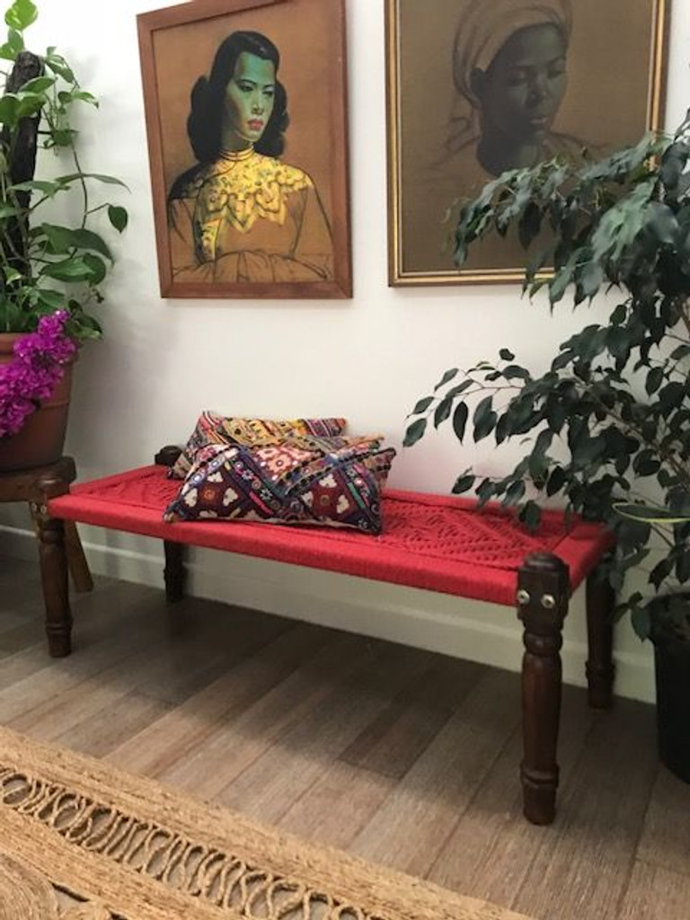 Handmade Red Indian Charpoy Bed
