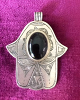 Antique Solid Silver Hamsa Hand with Onyx Stone