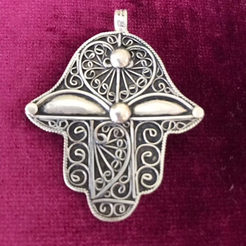 Antique Solid Silver Hamsa Hand 3
