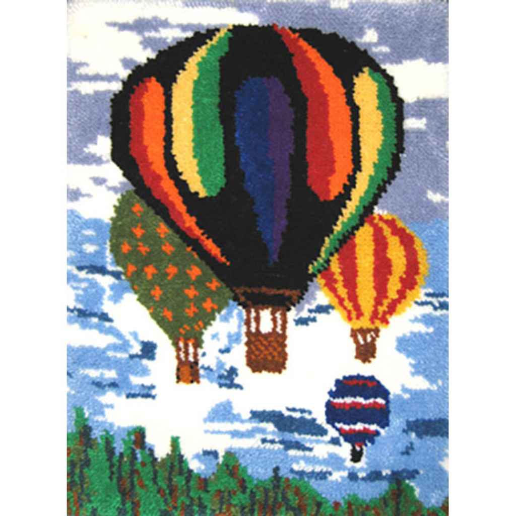Hot Air Balloons Latch Hook Rug Kit