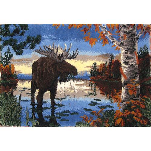 Autumn Moose Latch Hook Rug Kit