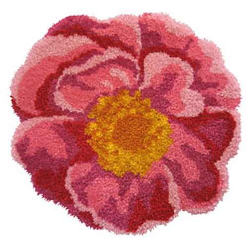 Pink Flowers Shaped Latch Hook Rug Kit