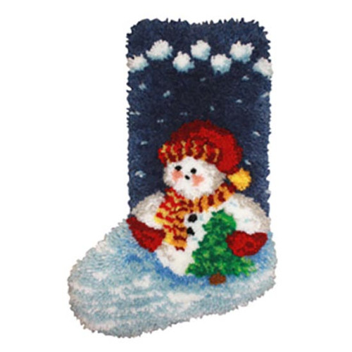 Roly Poly Snowman Latch Hook Christmas Stocking Kit