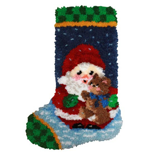 Roly Poly Santa Latch Hook Christmas Stocking Kit