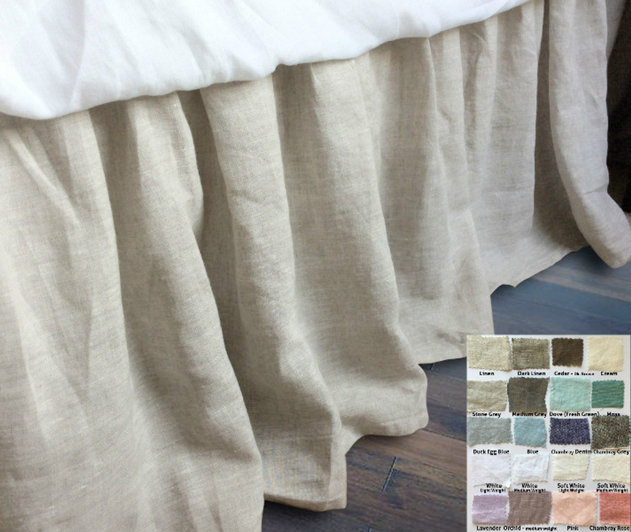 Gathered Linen Bed Skirt   Natural Linen