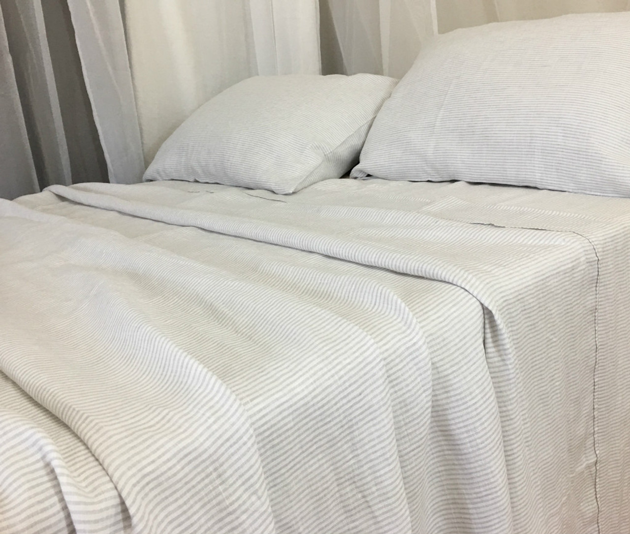 Stone Grey And White Striped Linen Sheets Set