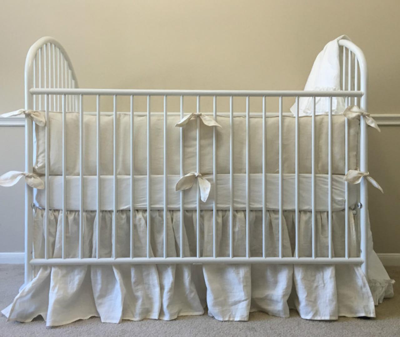 Superbe Ivory Baby Bedding Handmade In Natural Linen
