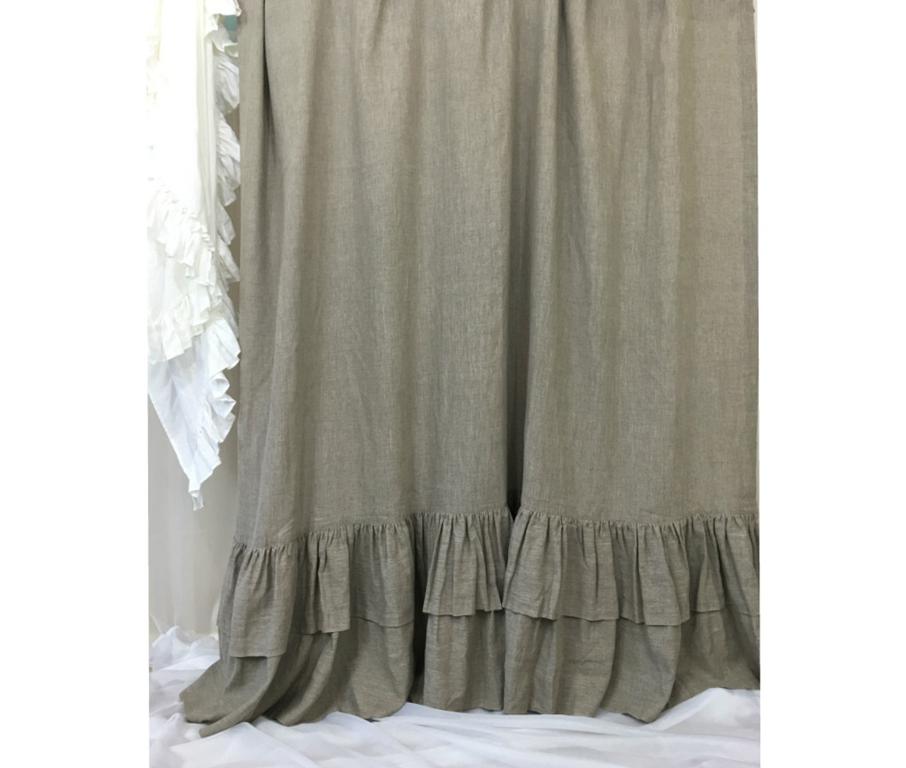 Dark Linen Curtains With Double Layers Of Mermaid Long Ruffles Farm House Style