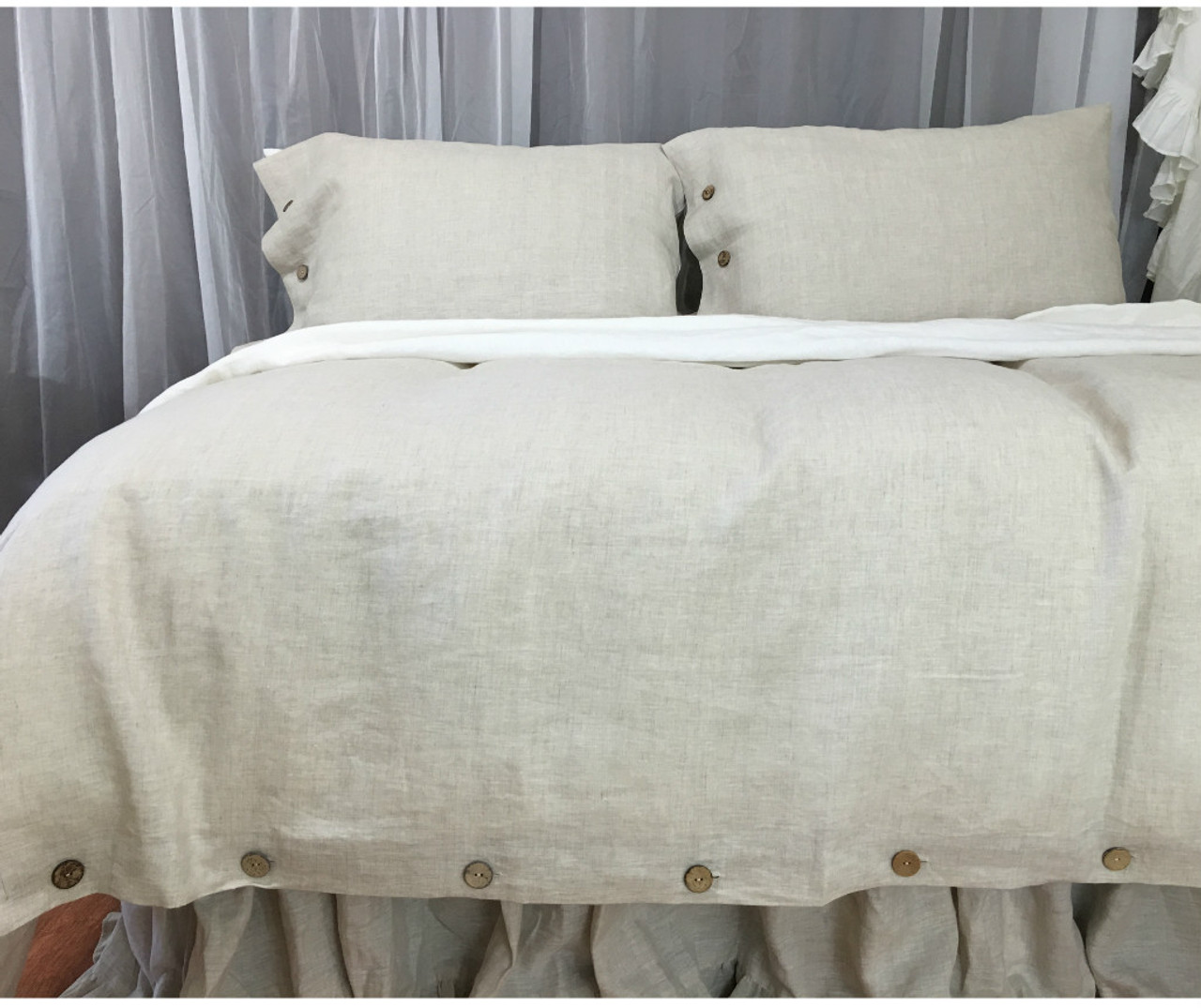 Natural Linen Duvet Cover With Wooden Ons
