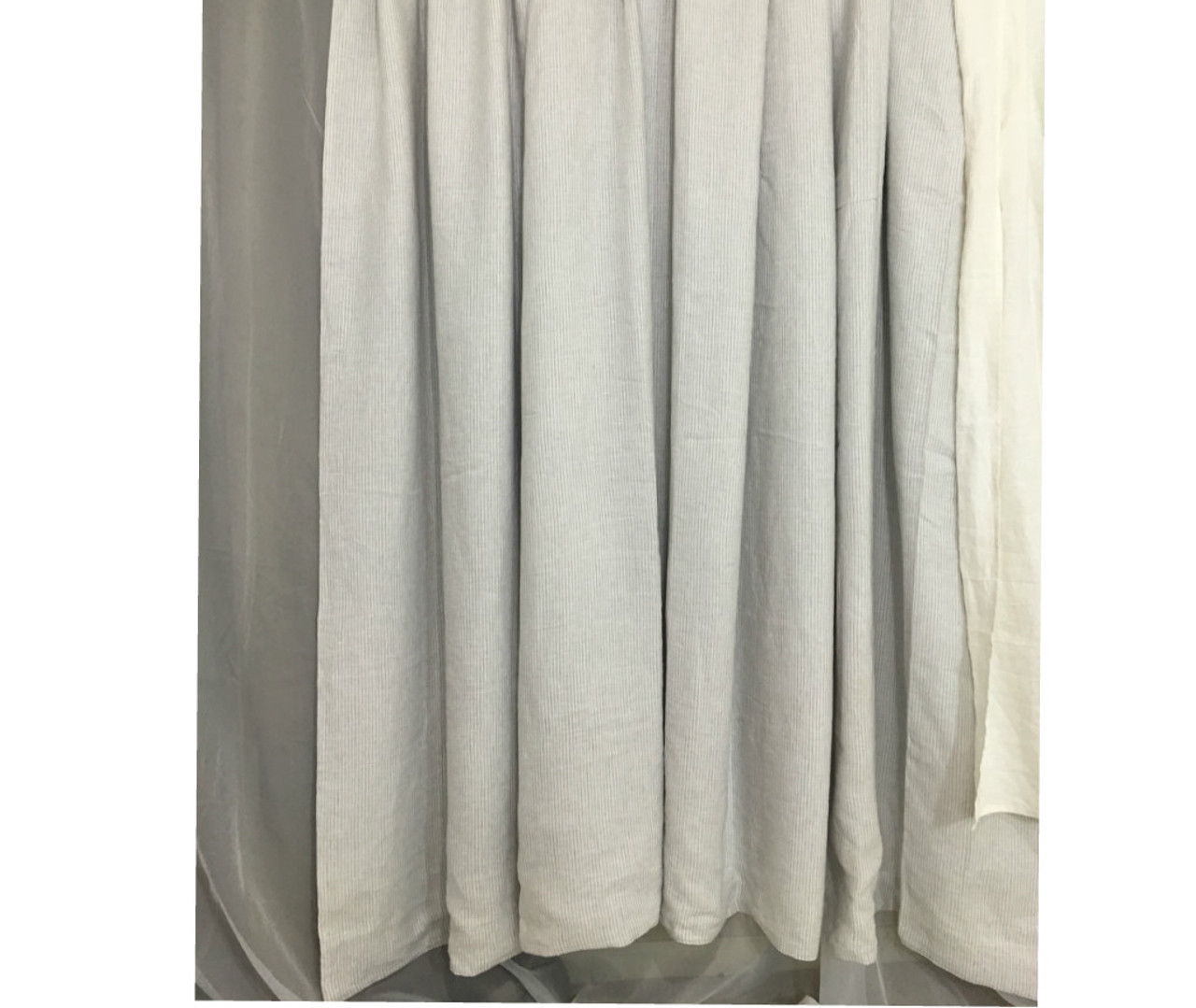 Stone Grey Ticking Stripe Linen Curtain