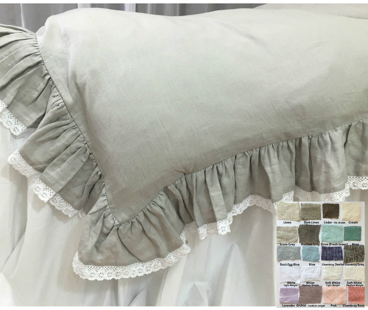 Linen Ruffle Duvet Cover With Lace Hem White Gray Blue