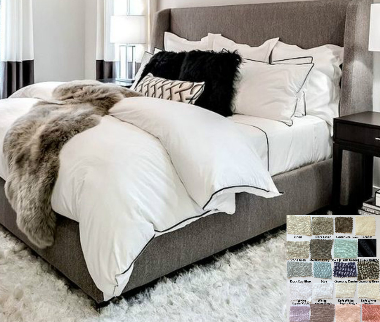 White Linen Duvet Cover With Piping White Gray Blue