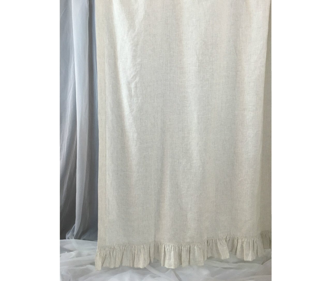 Linen Ticking Striped Shower Curtain with Ruffle Hem - - Mildew-Free ...