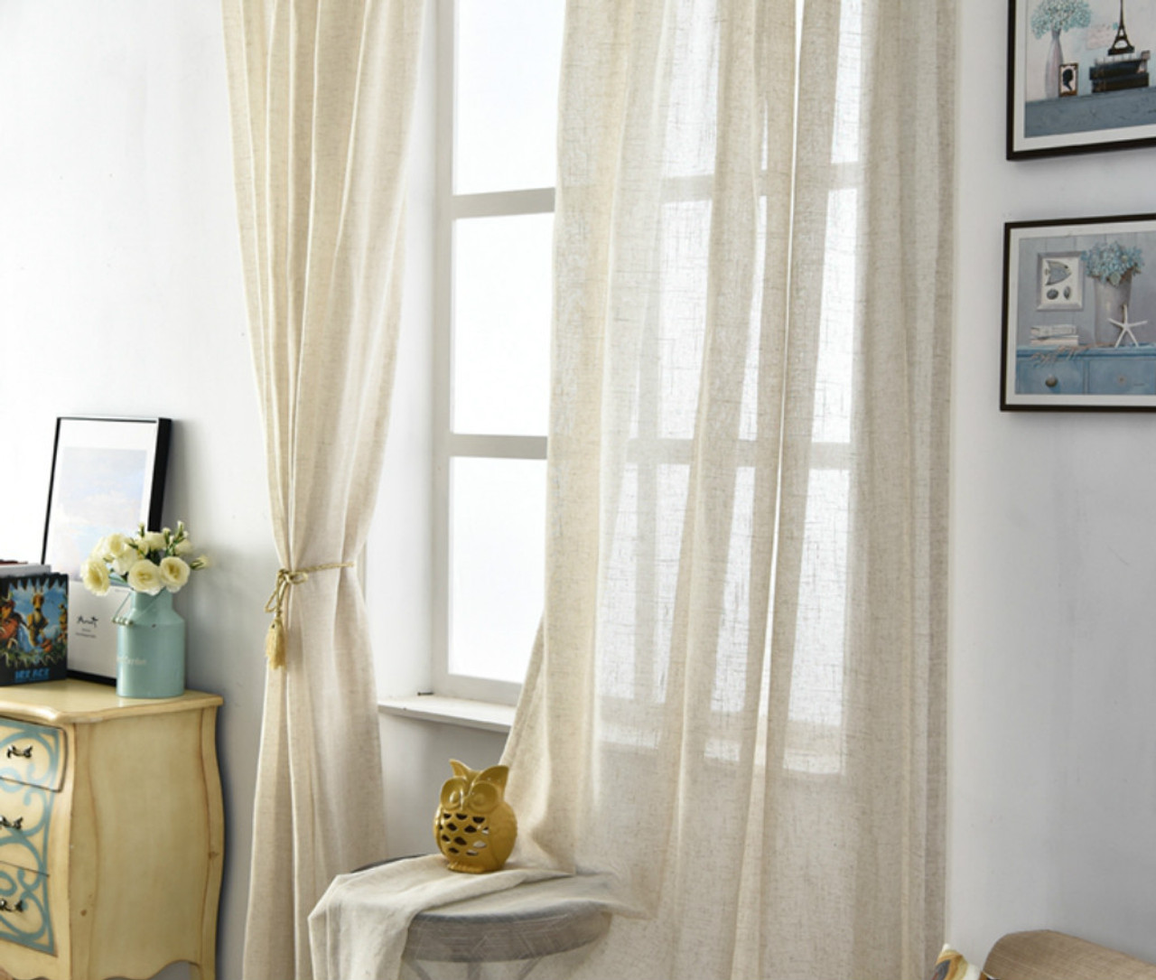 Natural Linen Sheer Curtains Chic Romantic