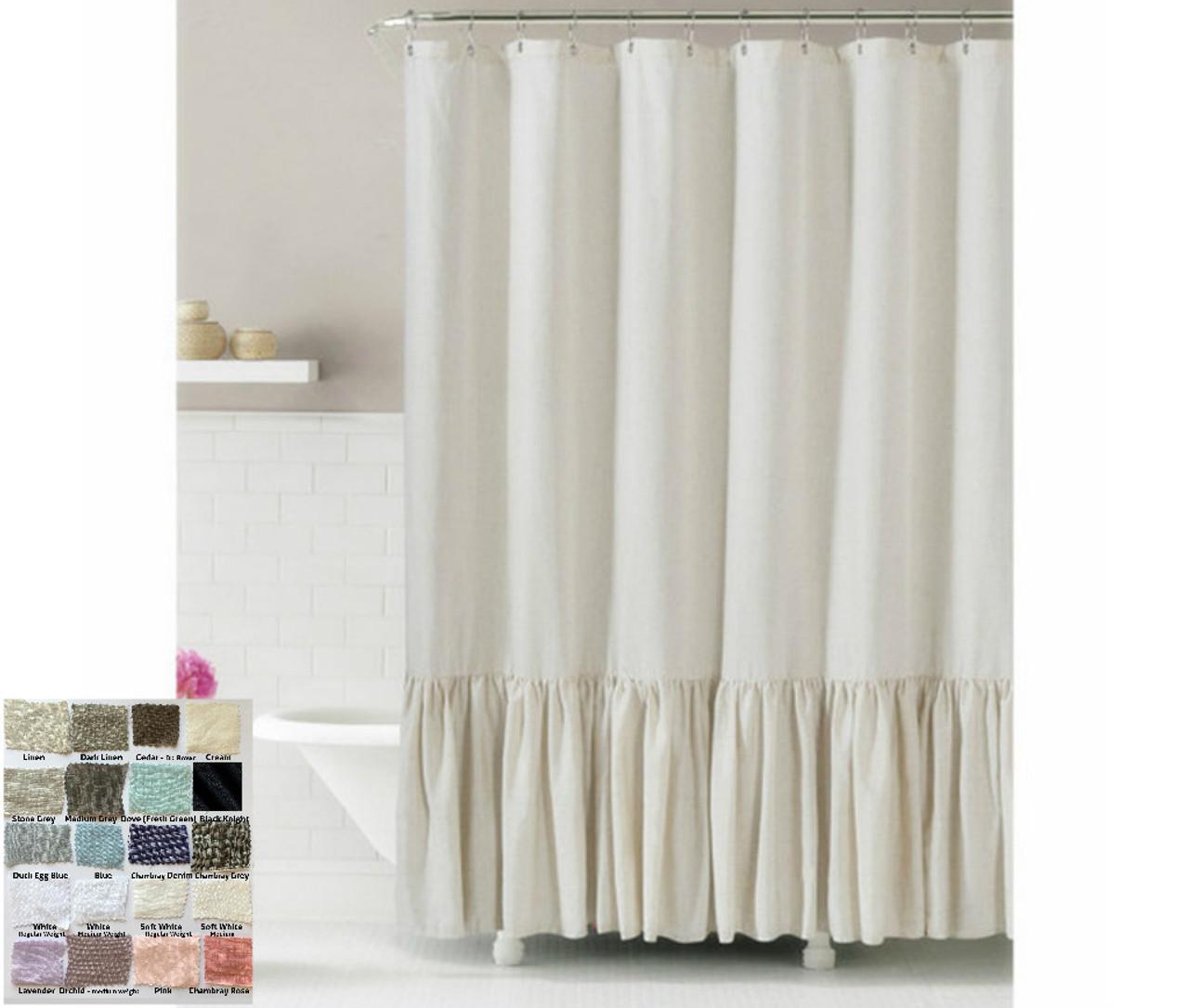 Linen Shower Curtain with Mermaid Long Ruffles