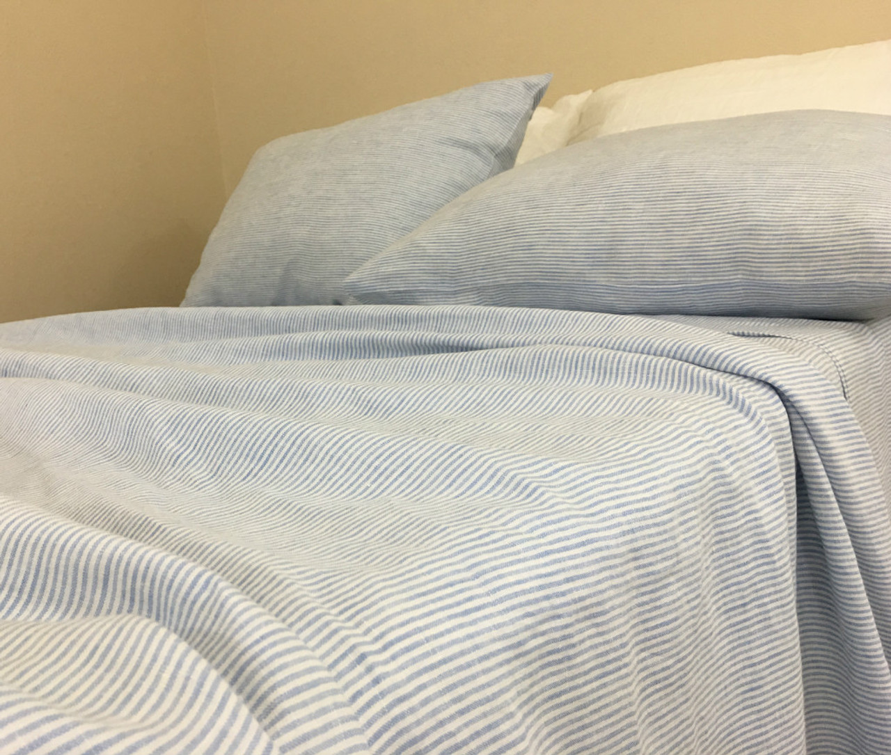 Blue And White Ticking Striped Bed Sheets Set