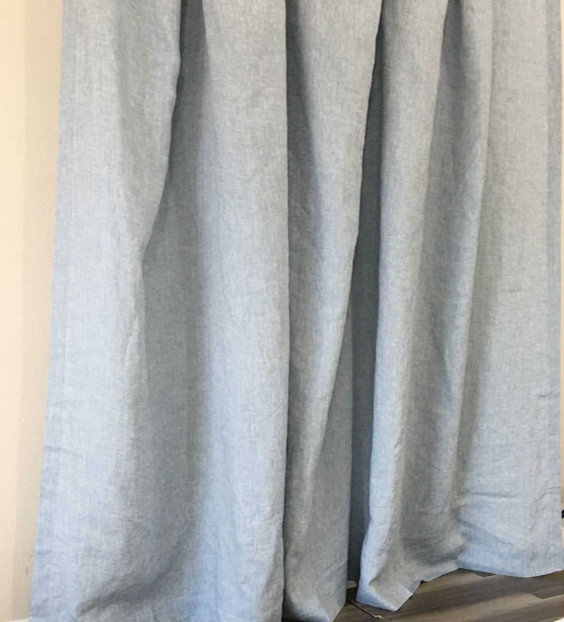 Chambray Surf Blue Linen Curtains