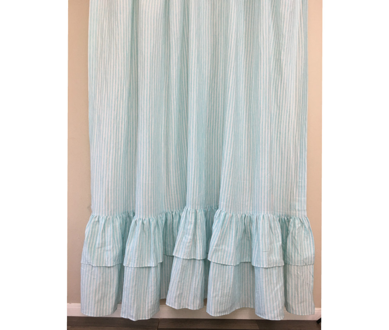 Green And White Striped Shower Curtain With Two Tiered Ruffles Linen