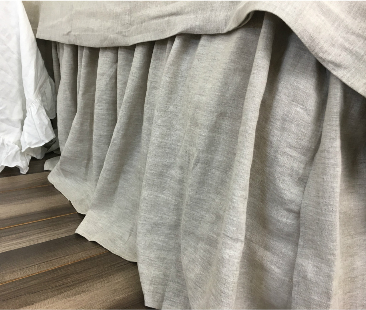 Natural Linen Bed Skirt Medium Weight