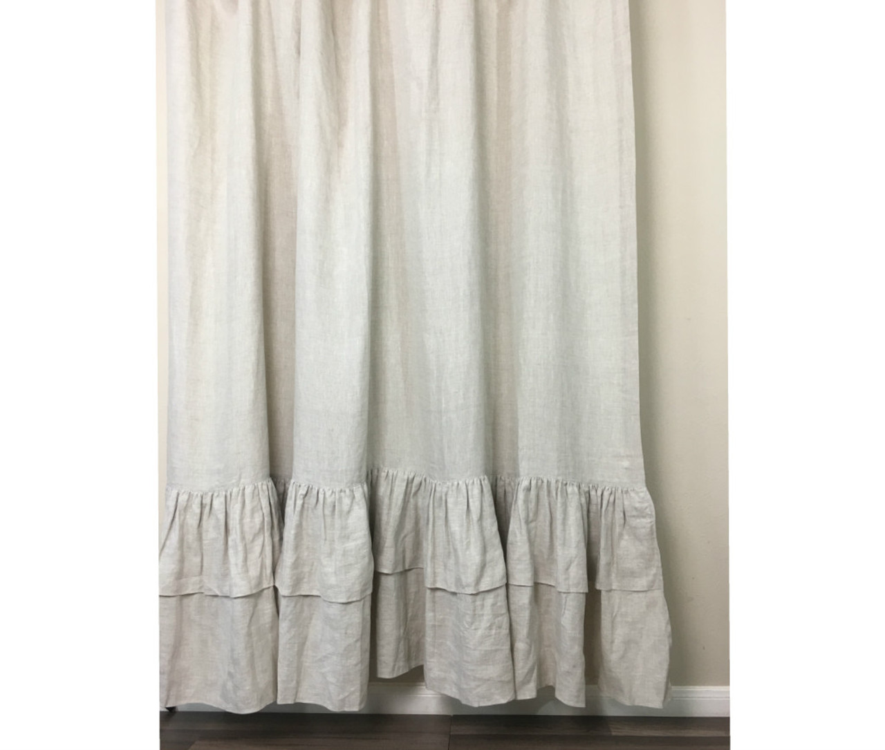 Natural Linen Curtains With Two Tiered Of Mermaid Long Ruffles Medium Weight