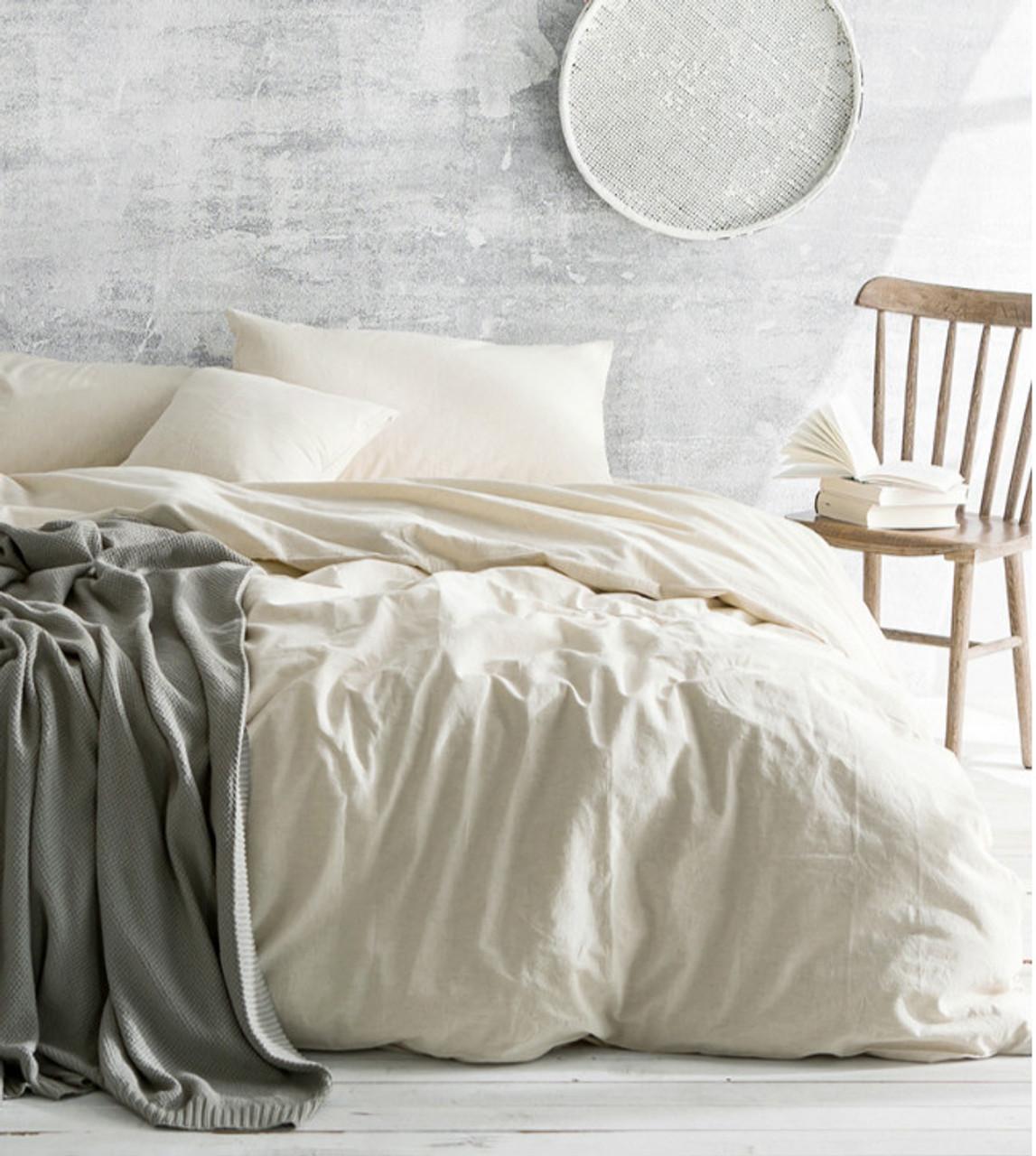 Ivory Cream Duvet Cover, 100% Linen Bedding