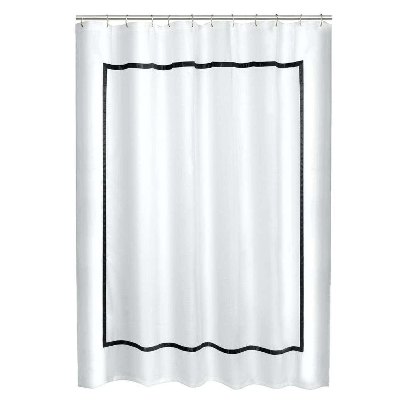 White linen shower curtain with border trim, hotel border shower curtain
