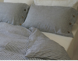 Navy And White Striped Linen Sheets Set Handcrafted By