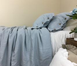 duck egg blue duvet cover natural linen greyish blue custom size queen king calif king twin. Black Bedroom Furniture Sets. Home Design Ideas