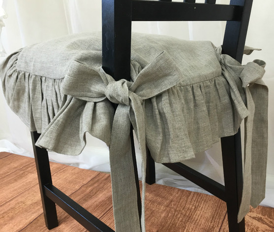 ... Linen Chair Seat cover Gathered Ruffles with Ballerina Sash Ties ... & Chair SlipCover 100% Linen | Handcrafted by SuperiorCustomLinens.com