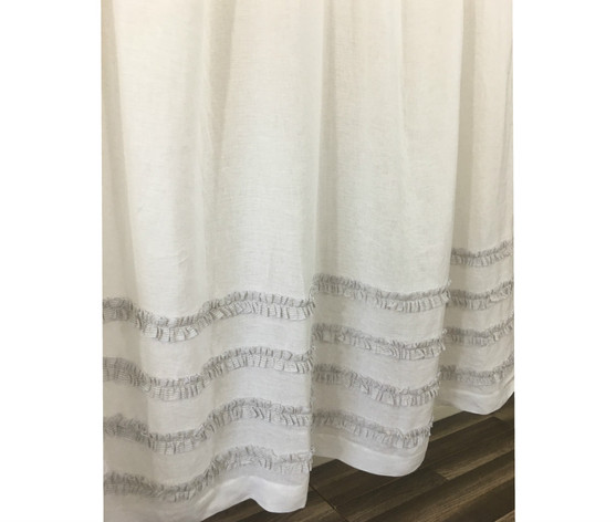 White Shower Curtain With Stone Grey Ticking Stripe Ruffle
