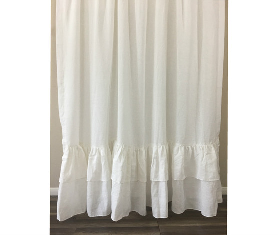 ... Double Layer Ruffle Shower Curtain, Natural Linen ...