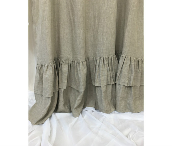 Dark Linen Curtains With Double Layers Of Mermaid Long Ruffles