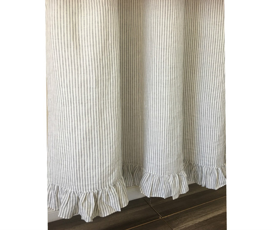 Grey stripe Linen shower curtain features ruffle hem - Mildew-Free ...