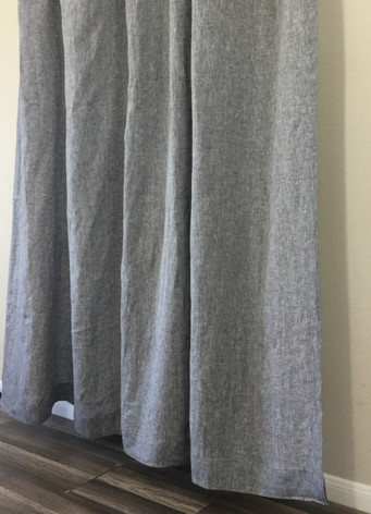 Chambray Grey Shower Curtain Natural Linen