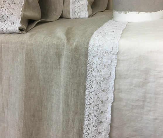 ... Natural Linen Bed Top Sheet With Crochet Lace Trim, 40+ Linen Fabric  Choices ...