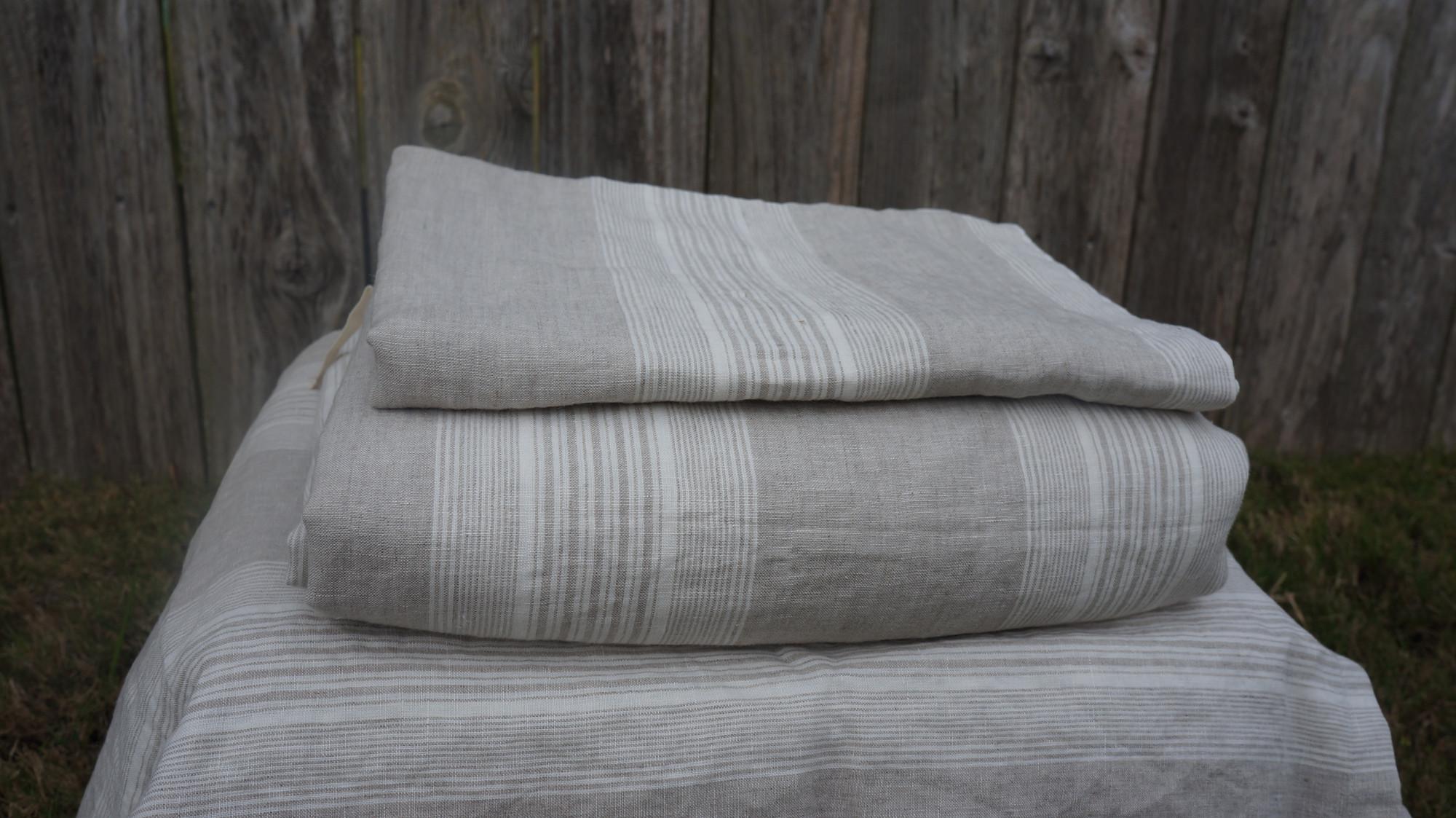 striped duvet cover handmade in natural linen superior custom linens. Black Bedroom Furniture Sets. Home Design Ideas