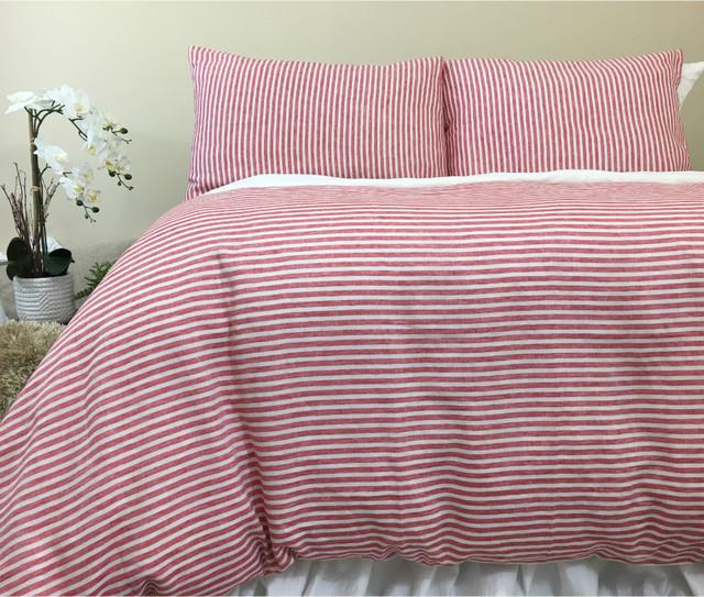Red And White Striped Duvet Cover Natural Linen Custom
