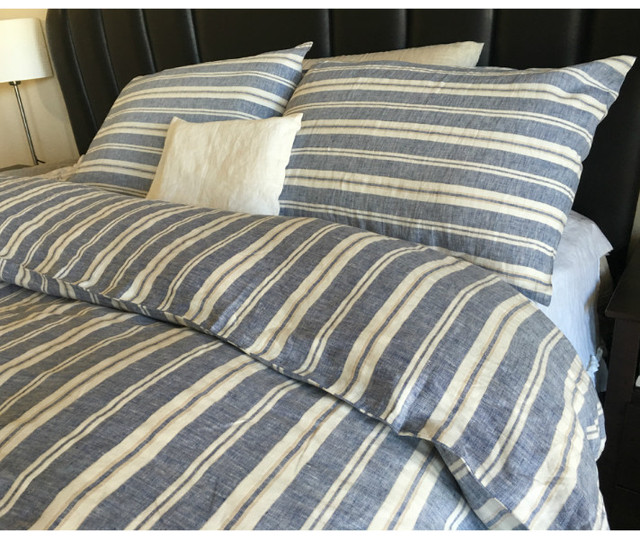 Nautical Striped Duvet Cover Natural Linen Navy And