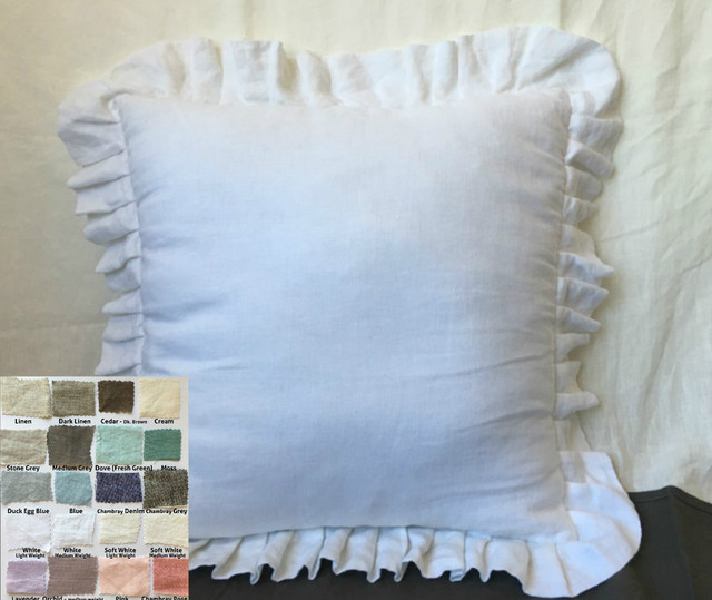 Pleated Ruffle Euro Sham Natural Linen White Grey