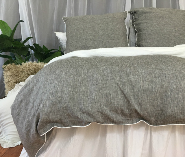 Chambray Grey Linen Duvet Cover With Soft White Piping