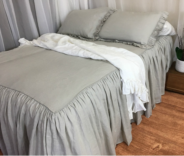 Stone Grey Bedspread With Gathered Ruffle Ruffle Bed Cover