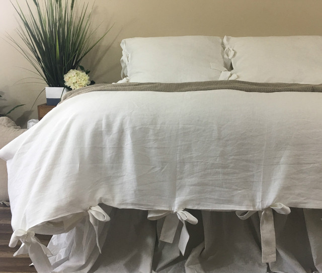 White Linen Duvet Cover With Bow Ties Mesmerizing White Linen